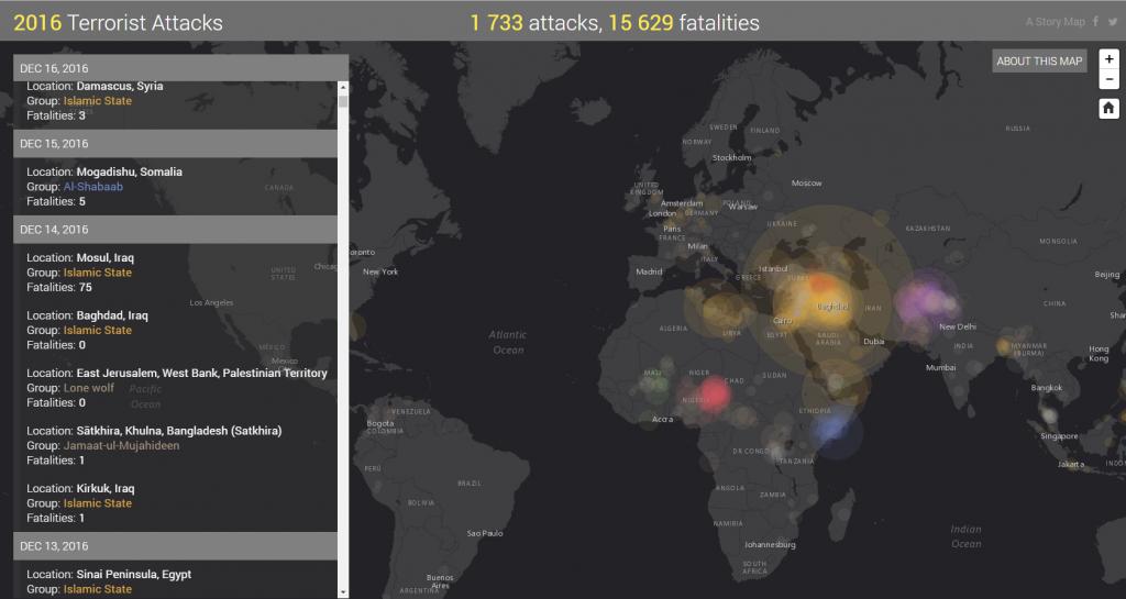 Ataki terrorystyczne w 2016 roku na mapie