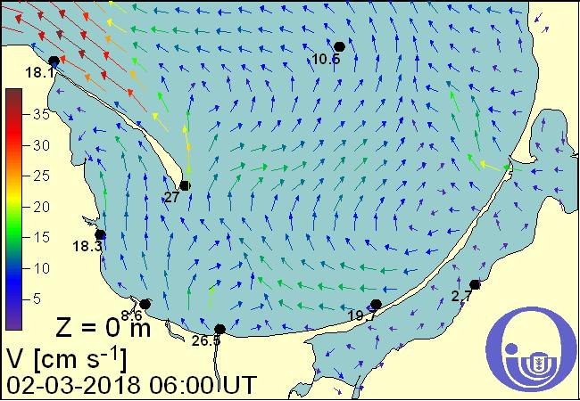 Prądy powierzchniowe - Zatoka Gdańska (Źródło: http://model.ocean.univ.gda.pl)