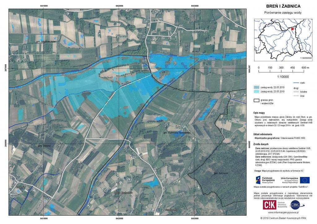Zasięg wody na rz. Breń i Żabnicy, 22-23.05.2019