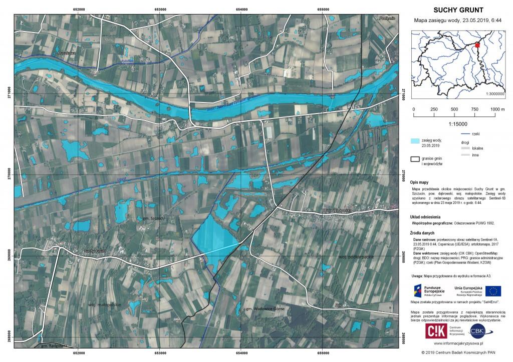 Zasięg wody w miejscowości Suchy Grunt, 23.05.2019