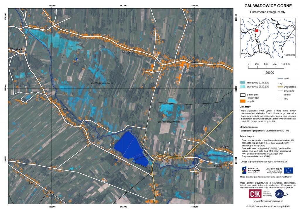 Zasięg wody k. Wadowic Górnych, 22-23.05.2019