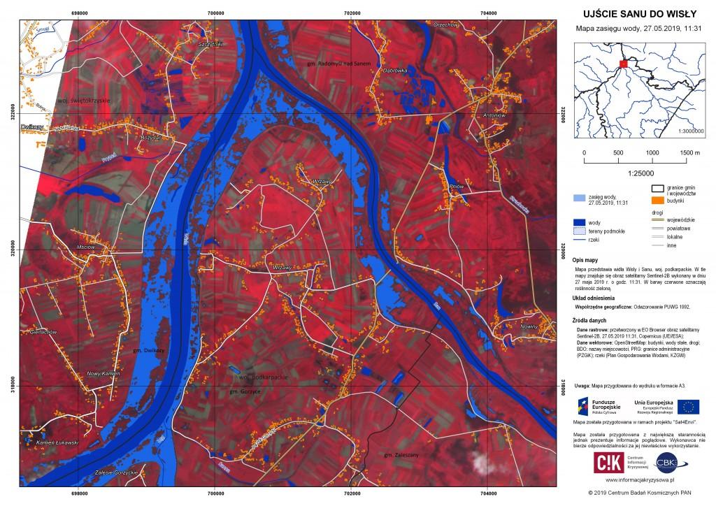 Zasięg wody w ujściu Sanu do Wisły, 27.05.2019