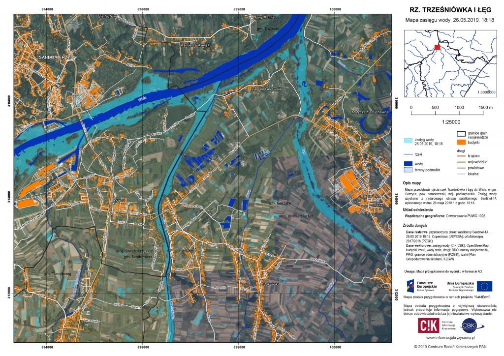 Zasięg wody w ujściu Trześniówki i Łęgu do Wisły, 26.05.2019