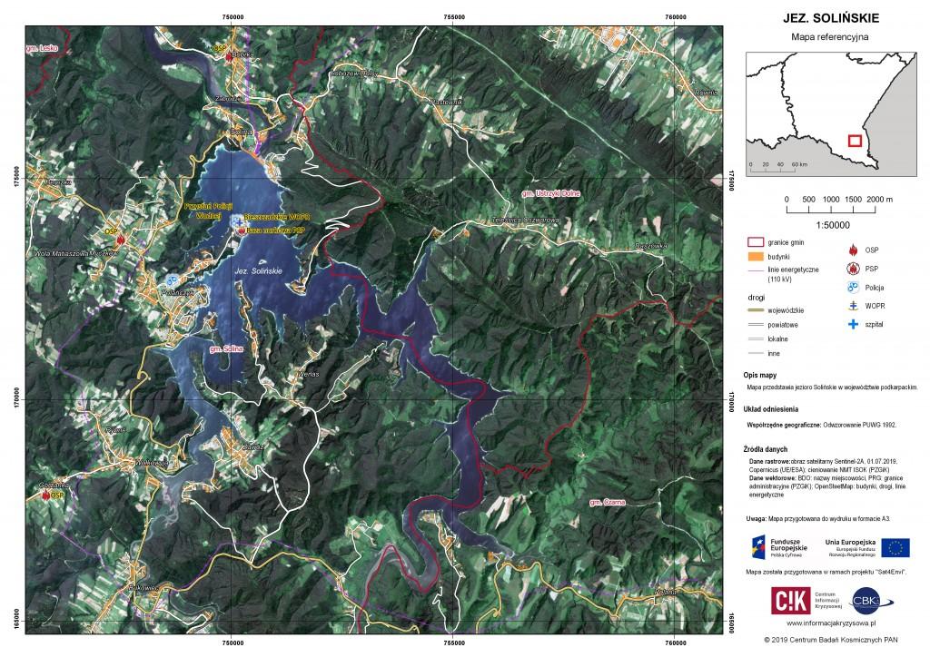 Mapa referencyjna - Jezioro Solińskie