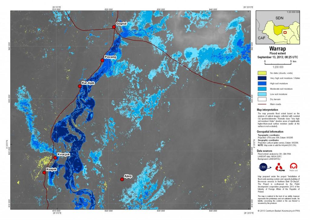 Zasięg rozlewisk w stanie Warrap w Sudanie Południowym według danych z dnia 13 września 2013 r.
