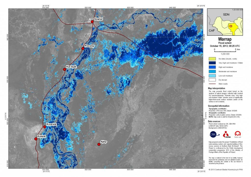 Zasięg rozlewisk w stanie Warrap w Sudanie Południowym według danych z dnia 15 października 2013 r.